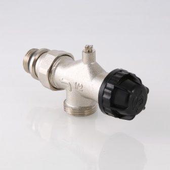 Клапан термостатичний кутовий з осьовим управлінням, попереднім налаштуванням і відводом повітря