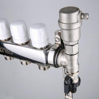 Коллекторный блок из нержавеющей стали с термостатическими клапанами
